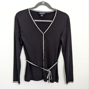 Ann Taylor black button up sweater with belt